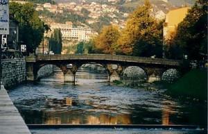 Latinska ćuprija on river Miljacka, Sarajevo, the place where Franc Ferdinand was assassinated on June 28 - 1914 after War World One started (Photo - Wikipedia)