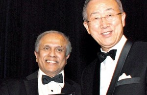 Thalif Deen (left) receiving UNCA Award on December 19 - 2012 from UN Secretary General Ban Ki.moon (Courtesy photo - Sunday Times)