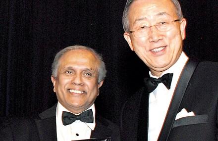 Thalif Deen (left) receiving UNCA Award on December 19 - 2012 from UN Secretary General Ban Ki.moon (Courtesy photo - Sunday Times)