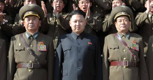 picture released by North Korea's official Korean Central News Agency on May 5, 2012 shows North Korean leader Kim Jong Un (C) inspecting the Air and Anti-air Force Command of the KPA.