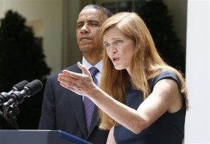 Samantha Power with president Barack Obama, 5 June 2013 (Courtesy photo - education only)