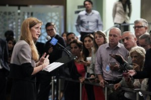 Samantha Power (left), Permanent Representative of the United States to the U.N., speaks to journalists on the Syrian crisis Sep. 5, 2013. Credit: UN Photo/JC McIlwaine