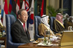 Ban Ki-moon International Humanitarian Pledging Conference for Syria Secretary-General Ban Ki-moon (left) at the opening of the International Humanitarian Pledging Conference for Syria in Kuwait City. To the right is Sheikh Sabah Al-Ahmad Al-Jaber Al-Sabah (centre), Amir of the State of Kuwait and Sheikh Sabah Khalid Al Hamad Al Sabah, Deputy Prime Minister and Minister for Foreign Affairs. 15 January 2014 UN photo by Eskinder Debebe