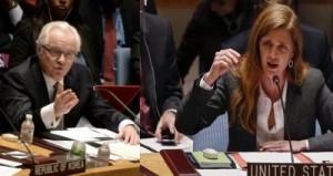 Russian ambassador to the UN Vitaly Churkin and US ambassador to UN Samantha Power taking to the UN Security Council )Courtesy -- UN photos)