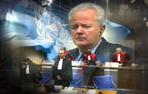 Slobodan Milosevic, former president of Serbia, at the UN Hague Tribunal for war crimes in former Yugoslavia - ICTY (TV image - CBC)