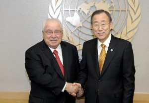 Former Secretary-General Ban Ki-moon (right) meets with Samir Sanbar, former UN Under-Secretary-General for Communications and Public Information. 06 January 2011UN New York (UN photo)