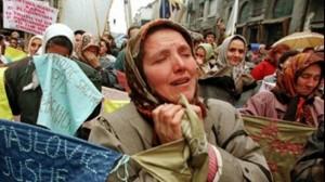 Women from Srebrenica (TV image courtesy photo)