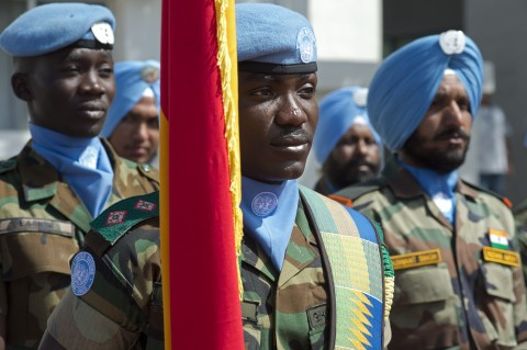 The United Nations Interim Force in Lebanon (UNIFIL) observed the International Day of UN Peacekeepers (29 May) in a ceremony held at its Naqoura headquarters in southern Lebanon. (UN Photo Pasqual Gorriz)