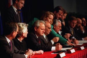 """Dayton Peace Accord --President Slobodan Milosevic of the Federal Republic of Yugoslavia, President Alija Izetbegovic of the Republic of Bosnia-Herzegovina, and President Franjo Tudjman of the Republic of Croatia sign the Dayton Peace Accords.  The Balkan Proximity Peace Talks were conducted at Wright-Patterson Air Force Base November 1-21, 1995.  The talks ended the conflict arising from the breakup of the Republic of Yugoslavia.  The Dayton Accords paved the way for the signing of the final """"General Framework Agreement for Peace in Bosnia and Herzegovina"""" on December 14 - 1995 at the Elysee Palace in Paris. (Photo by U.S. Air Force/Staff Sgt. Brian Schlumbohm)"""