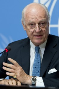 Staffan de Mistura, United Nations, Special Envoy of the Secretary-General for Syria at a press conference on the latest developments in Syria. 12 October 2015. (UN Photo/Jean-Marc Ferrés)