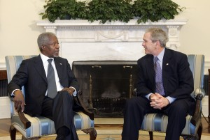 George W. Bush and Kofi Annan in the White House 2008 (UN photo by Eskinder Debebe)