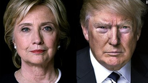 Hillary Clinton and Donald Trump 2016 (Photo illustration for education only)