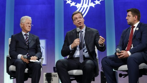 Bill Clinton was joined by Serbian prime minister Aleksander Vucic, center, and Camil Durakovic, the mayor of Srebrenica(Clinton Global Initiative)