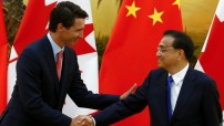 China's Li Keqiang with Canada's Justin Trudeau at the Great Hall of the People in Beijing, on Aug. 31. 2016 (Courtesy photo for education only - CBC)