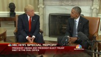 Barack Obama and Donald J. Trump at the White House November 10 - 2016 (NBC TV News photo for education only)