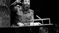 Fidel Castro Ruz, President of the Council of State and of the Council of Ministers of Cuba and current Chairman of the non-aligned States, paid a visit to United Nations Headquarters today and addressed the General Assembly.   President Castro addressing the General Assembly. 12 October 1979 United Nations, New York (UN photo by Saw Lawin)