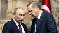 Vladimir Putin and Recep Tayyip Erdogan - confidential talk (RT Courtesy TV image for education only)