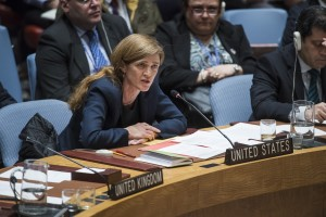 Ambassador Samantha Power, Permanent Representative of the United States to the United Nations, addresses other members of the Security Council during an emergency meeting on the situation in the Syrian city of Aleppo. 13 December 2016 New York -- UN Photo/Amanda Voisard