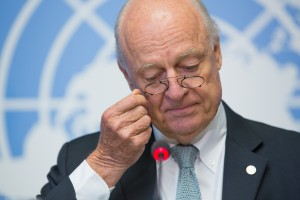 Staffan de Mistura, Special Envoy for Syria, speaks to journalists. 06 October 2016 United Nations, Switzerland (UN photo by Elma Okic)