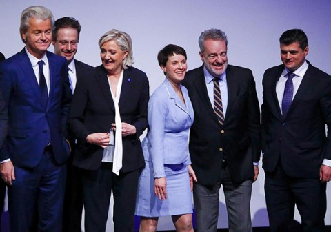 Germany's Alternative for Germany (AfD) leader Frauke Petry and other leaders receive applause after Petry's speech at a European far-right leaders meeting in Koblenz, Germany, January 21, 2017. [Photo/Agencies for education only]