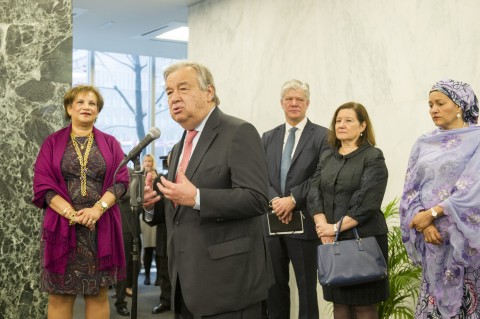 On his first day at work, António Guterres, the new United Nations Secretary-General, laid a wreath in honour of UN staff fallen in the line of duty and addressed staff members gathered to welcome him.  Mr. Guterres (second from left) addressing staff members. Also pictured (from left): Catherine Pollard, Under-Secretary-General for General Assembly and Conference Management; Fabrizio Hochschild, Assistant Secretary-General for Strategic Coordination in the Executive Office of the Secretary-General; Maria Luiza Ribeiro Viotti, Chef De Cabinet to the Secretary-General; Amina J. Mohammed, Deputy Secretary-General. 03 January 2017 (UN photo by Rick Bajaornas)