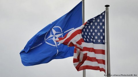 NATO and US flags (DW photo for education only)