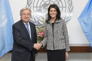 Antonio Guterres UN Secretary General meets US ambassador Nikki Haley at the UN (January 27 - 2017; she has departed the position on January 1 - 2019. (UN Photo by Eskinder Debebe)