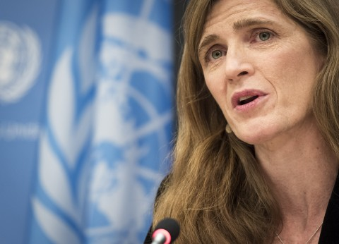 Samantha Power, outgoing United States Permanent Representative to the United Nations, addresses her final press conference in her current capacity. 13 January 2017 United Nations, New York (UN photo by Mark Garten)
