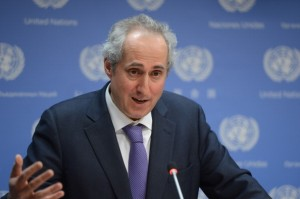 Stephane Dujarric answering the question to the reporter (UN photo file WPP)