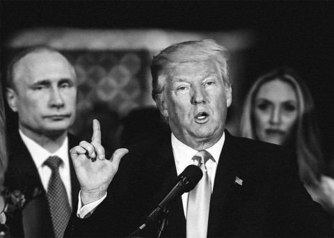 Trump and Putin in black and white (Photo montage - illustration for education only)