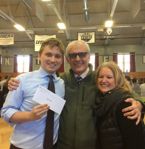 New doctor Hajat Avdovic (left), 25 years old at Albany Medical College on March 17 - 2017, with his parents celebrating his successful match for Phelps Memorial Hospital in Tarrytown, New York (Photo Webpublicapress for public use and education only)