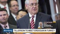 Rick Tllerson US Secretary of State in Turkey, March 2017 (TV courtesy image - Bloomberg for education only)