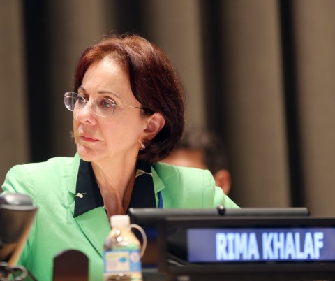 "Rima Khalaf The head of the UN's development agency for Asia,  has resigned after refusing to withdraw a report branding Israel an ""apartheid state."" (UN photo)"