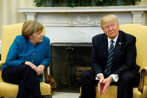Donald Trump and Angela Merkel at the White house 17 March 2017 (Courtesy TV image for education only)