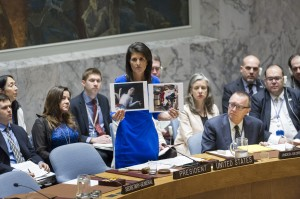 The Security Council met to discuss the alleged use of chemical weapons in an airstrike on 4 April in the Khan Shaykhun area of southern Idlib, Syria. Nikki Haley (centre), United States Permanent Representative to the UN and President of the Security Council for April, addresses the meeting.05 April 2017 (UN photo by Rick Bajornas)