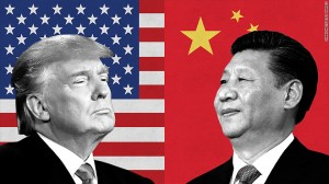 US President Trump and Chinese President Xi (photo illustration CNN.money - for education only)