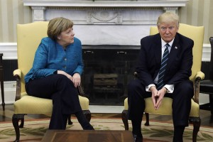 Trump and Merkel first meeting at the White House (NBC TV image for education only)