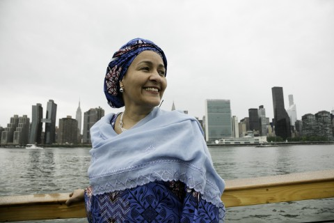 Deputy Secretary-General Amina Mohammed on a boat cruise during the World Ocean Festival. 04 June 2017 (UN photo by Ariana Lindquist)
