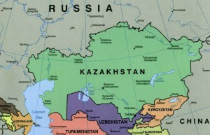 Important geopolitical position of Kazakhstan between Russia and China (map of Kazakhstan - public domain illustration)