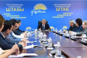 President Nursultan Nazarbayev at the headquarters of his ruling Nur Otan party in late February 2016. Does he want to get the elections out of the way early before Kazakhstan's economic crisis intensifies? (Photo: Kazakh Presidential Press Service - March 2016)