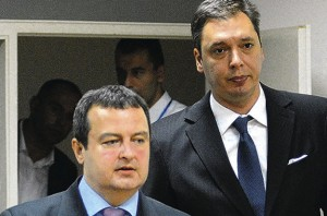Ivica Dacic (left) former political associate to Slobodan Milosevic and Aleksandar Vucic - former associate Vojislav Seselj, now president of Serbia (Courtesy photo for education only)