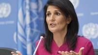 US ambassador to the United nations Nikki Haley briefing the press at the UN HQ in New York, (UN photo by Mark Garten 2017)