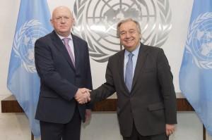 New Russian ambassador to the United Nations Vassily Alekseevich Nebenzia meets UN Secretary General Antonio Guterres (UN photo  by Eskinder Debebe, July 2017)