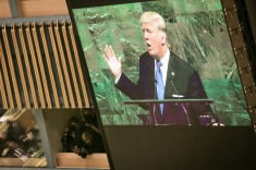 """US President Donald J. Trump at the 72. Session of UN General Assembly in New York, 19 September 2017 opening day - calling Kim Jung-un a """"Rocket man"""" saying US may destroy North Korea  (UN Photo by Ariana Lindquist)"""