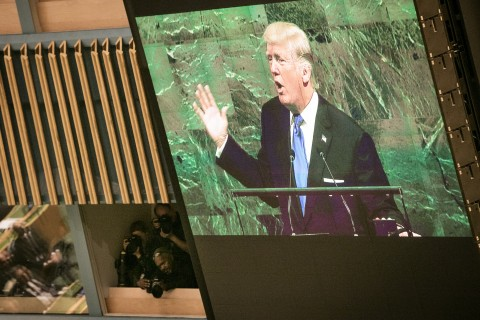US President Donald J. Trump at the 72. Session of UN General Assembly in New York, 19 September 2017 opening day (UN Photo by Ariana Lindquist)