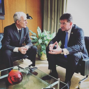 GA President Lajcak talking to our UN correspondent (Photo by Brenden Varma PGA office 18 October 2017, UN New York)