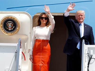 President Trump and his wife Mellania at Air Force One - 2017 (Photo for education only)
