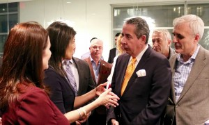 US Ambassador to the UN speaking to the journalists Ahmed Fathi and Erol Avdovic at the Scandinavian  House in New York at the Kosovo reception (Photo Halil Mula 19 December 2017 for Webpublicapress)