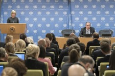 Press conference held by Sergey Lavrov, Minister for Foreign Affairs of the Russian Federation UN New York 19 January 2018 (UN photo by Mark Garten)
