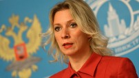 Russian Foreign Ministry spokesperson Maria Zakharova seen at a briefing on current foreign policies. Photo by Evgenya Novozhenina (For education only)